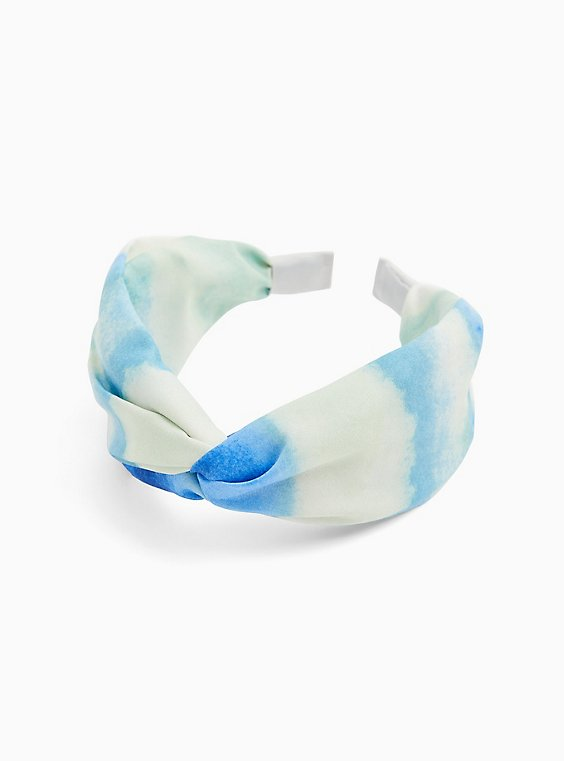 Plus Size Blue Watercolor Twist Top Headband , , hi-res