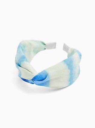 Plus Size Blue Watercolor Twist Top Headband , , hi-res