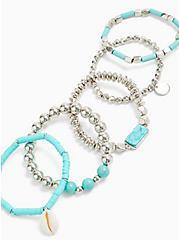 Silver-Tone & Turquoise Beaded Bracelet Set - Set of 5, TURQUOISE, alternate