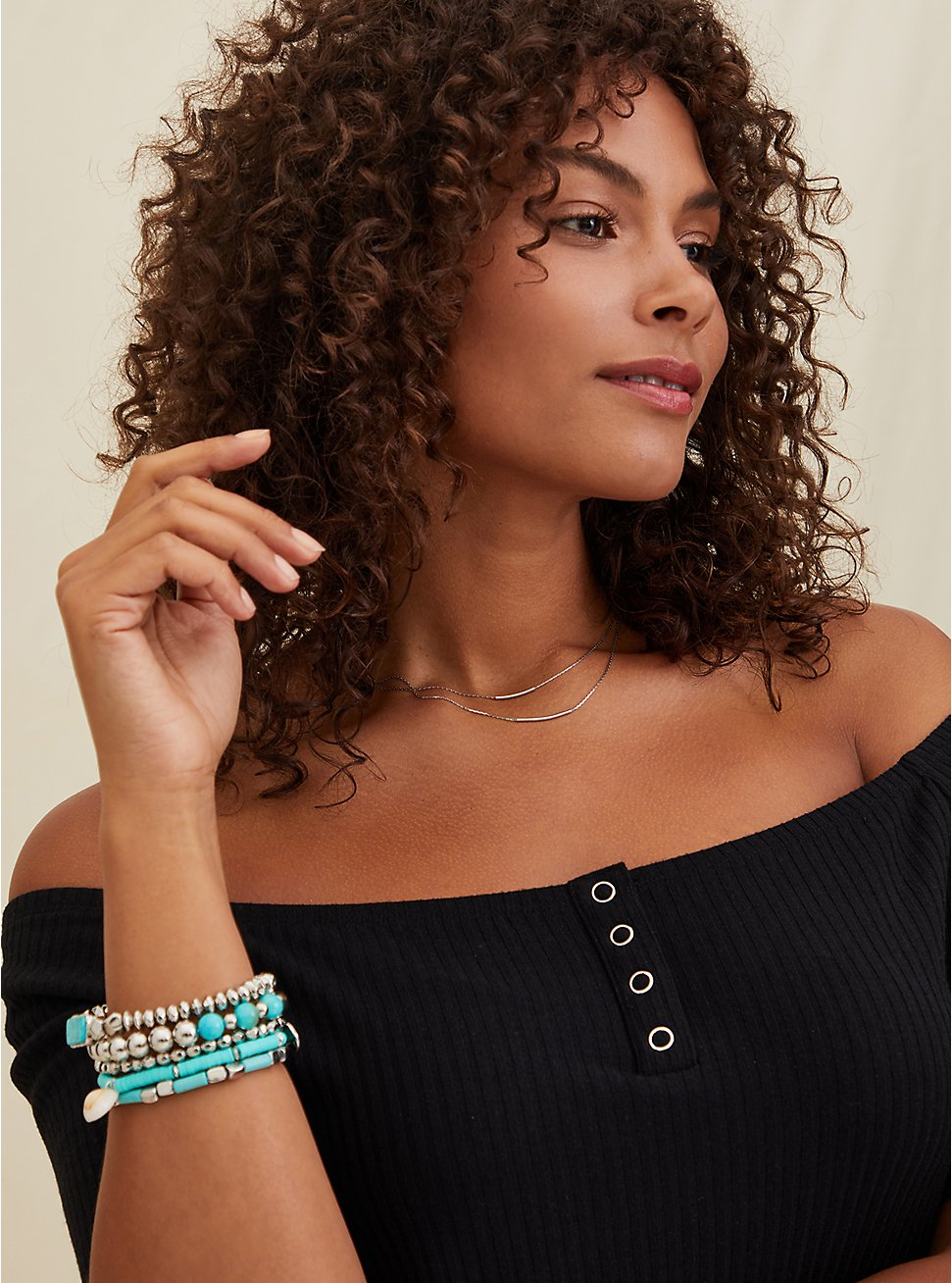 Silver-Tone & Turquoise Beaded Bracelet Set - Set of 5, TURQUOISE, hi-res