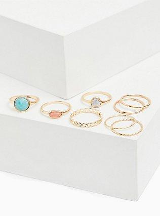 Gold-Tone Faux Aqua Stone Ring Set - Set of 8, TURQUOISE, alternate