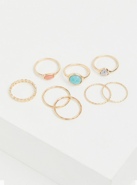 Gold-Tone Faux Aqua Stone Ring Set - Set of 8, , hi-res