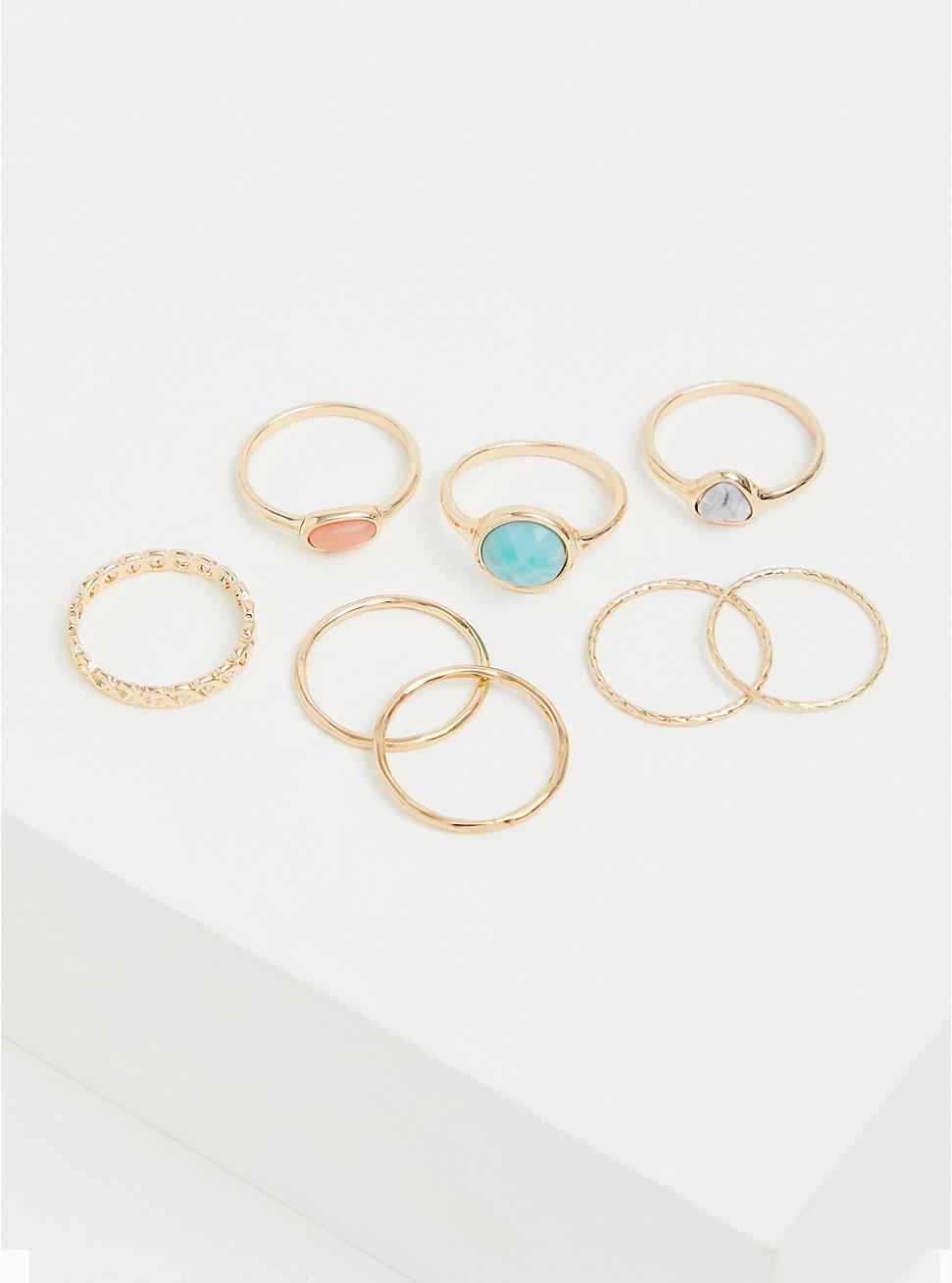 Gold-Tone Faux Aqua Stone Ring Set - Set of 8, TURQUOISE, hi-res