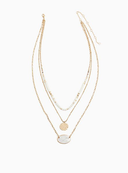 Gold-Tone Faux Mother-of-Pearl Layered Necklace, , alternate