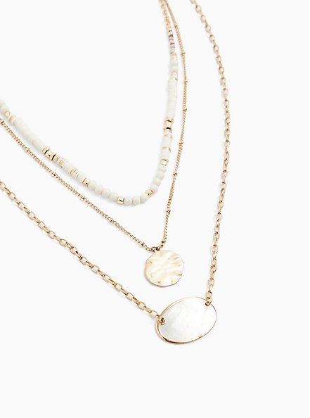 Gold-Tone Faux Mother-of-Pearl Layered Necklace, , hi-res