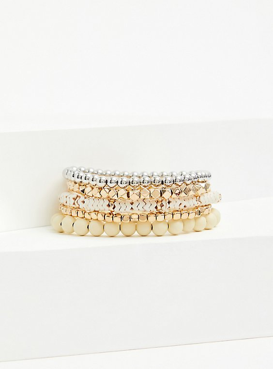Gold-Tone Bead Stretch Bracelet Set - Set of 5, , hi-res