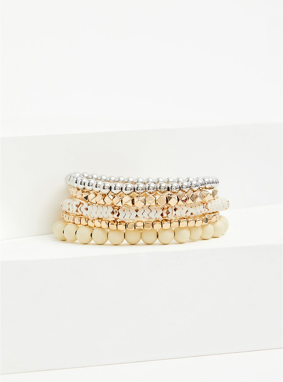 Gold-Tone Bead Stretch Bracelet Set - Set of 5, IVORY, hi-res