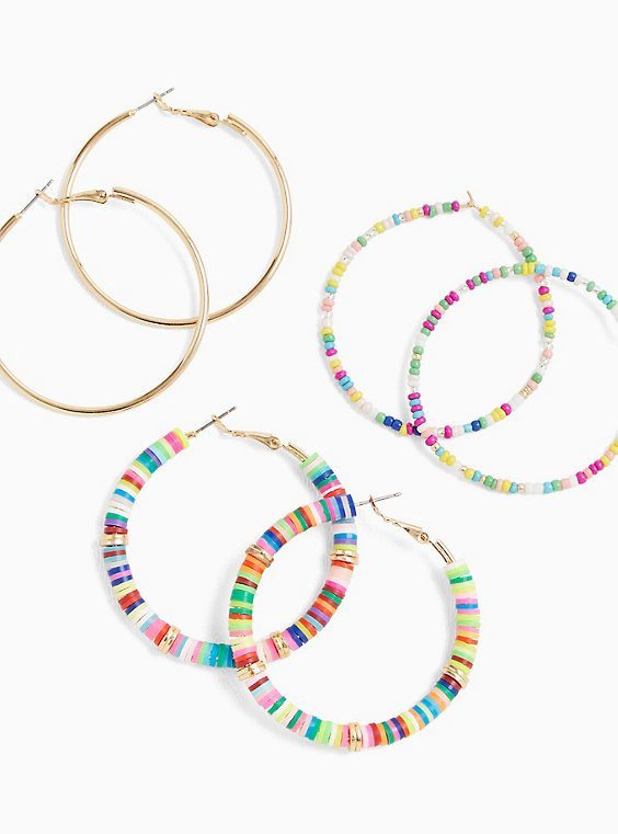 Multi Bead Hoop Earrings Set - Set of 3, , hi-res
