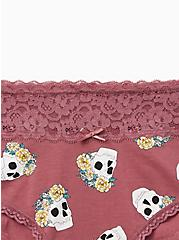 Mauve Purple Crown Skull Wide Lace Cotton Cheeky Panty, NEW CROWN SKULLS, alternate