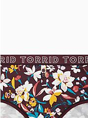 Torrid Logo Burgundy Purple Floral Henley Cotton Cheeky Panty, FALL FLORAL, alternate