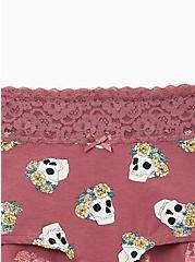 Mauve Purple Crown Skull Wide Lace Cotton Boyshort Panty, NEW CROWN SKULLS, alternate