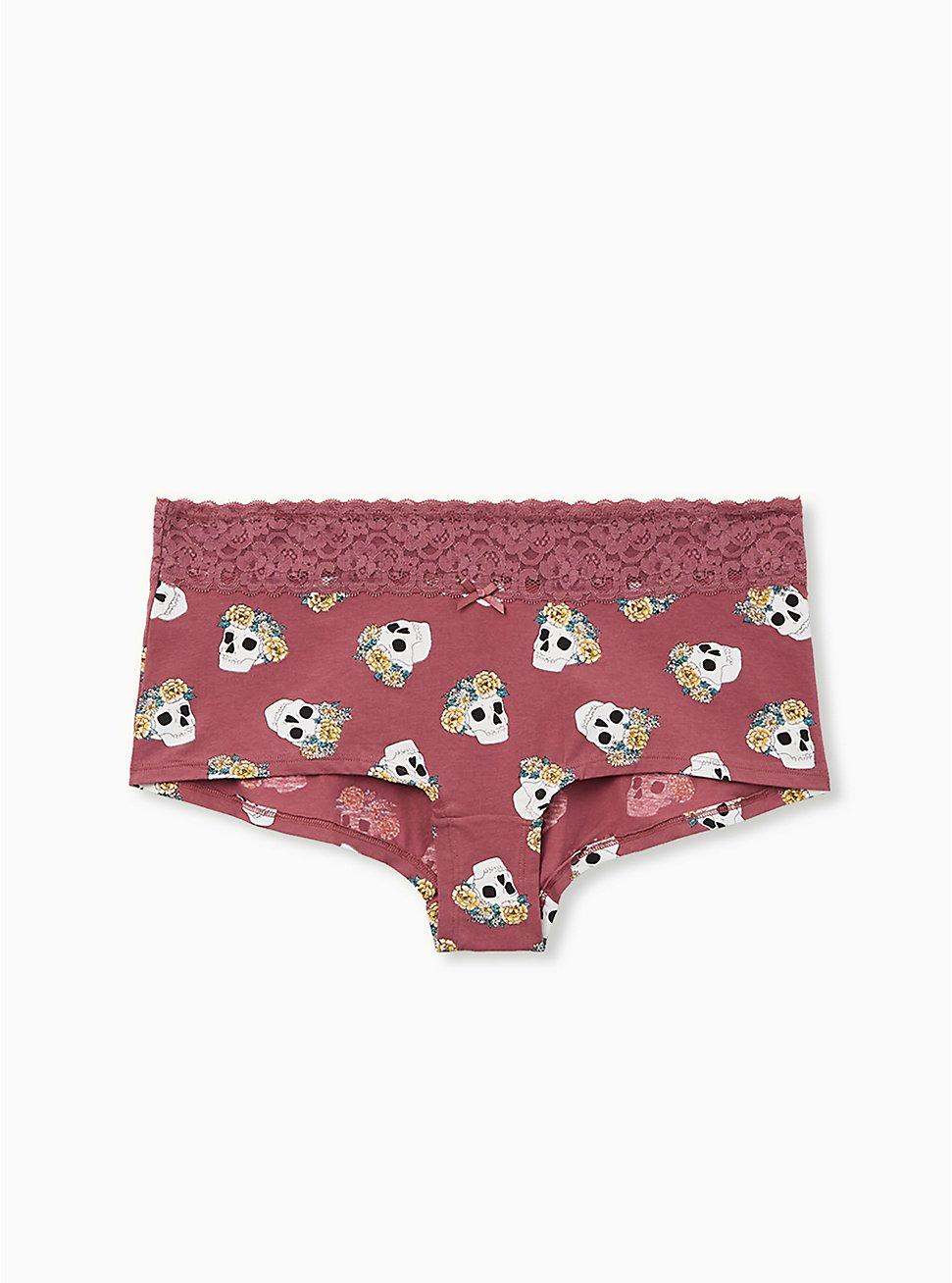 Mauve Purple Crown Skull Wide Lace Cotton Boyshort Panty, NEW CROWN SKULLS, hi-res