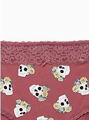 Mauve Purple Crown Skull Wide Lace Cotton Brief Panty, NEW CROWN SKULLS, alternate