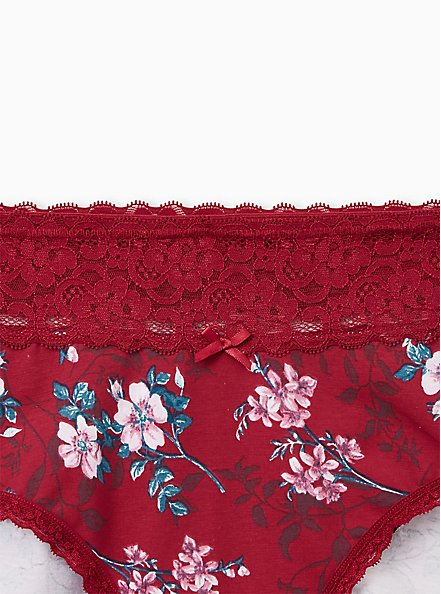 Red Floral Wide Lace Cotton Cheeky Panty, NEW VICTORIAN FLORAL, alternate