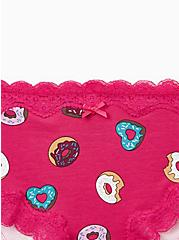 Raspberry Pink Donuts Wide Lace Cotton Cheeky Panty, DONUT DELIGHT, alternate