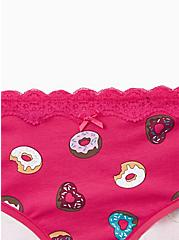 Raspberry Pink Donuts Wide Lace Cotton Hipster Panty, DONUT DELIGHT, alternate