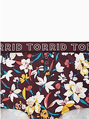 Torrid Logo Burgundy Floral Cotton Boy Short Panty, FALL FLORAL, alternate