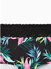 Black Tropical Leaves Wide Lace Cotton Boyshort Panty, TROPICAL LEAVES, alternate