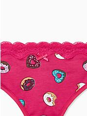 Raspberry Pink Donuts Wide Lace Cotton Thong Panty, DONUT DELIGHT, alternate