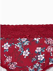 Red Floral Wide Lace Cotton Brief Panty, NEW VICTORIAN FLORAL, alternate