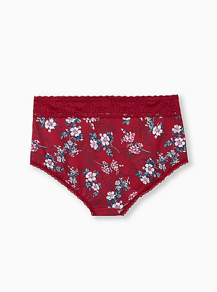 Plus Size Red Floral Wide Lace Cotton Brief Panty, NEW VICTORIAN FLORAL, alternate