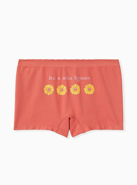 Be A Nice Human Daisy Dusty Orange Seamless Boyshort Panty , BE A NICE HUMAN, hi-res