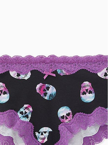 Multi Rave Skull Wide Lace Cotton Cheeky Panty, RAVE SKULLS, alternate
