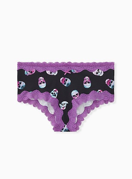 Multi Rave Skull Wide Lace Cotton Cheeky Panty, RAVE SKULLS, hi-res