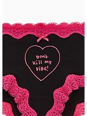 Don't Kill My Vibe Black Lace Cotton Cheeky Panty, DON'T KILL MY, alternate