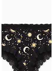 Celestial Black Wide Lace Cotton Cheeky Panty, SKULL CELESTIAL, alternate