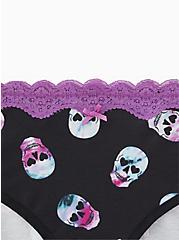 Multi Color Rave Skull  Wide Lace Cotton Hipster Panty, RAVE SKULLS, alternate
