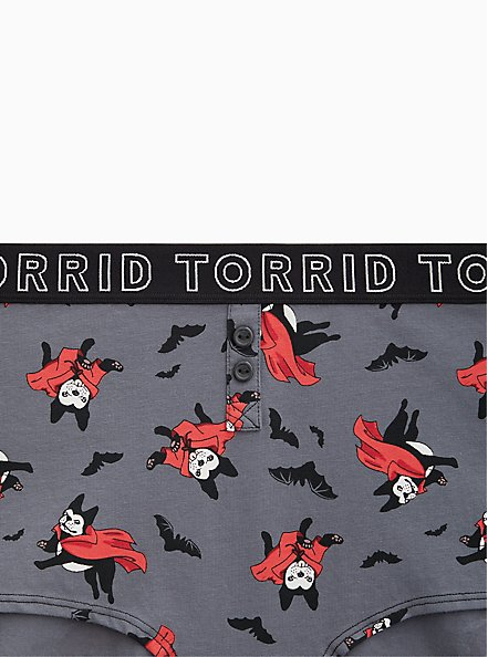 Torrid Logo Dark Slate Grey Vampire Pup Cotton Henley Boyshort Panty , VAMPIRE PUPS, alternate