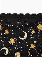 Plus Size Celestial Black Lace Cotton Brief Panty, SKULL CELESTIAL, alternate