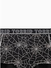 Torrid Logo Black Spider Web Cotton Henley Boyshort Panty , CAUGHT IN A WEB, alternate