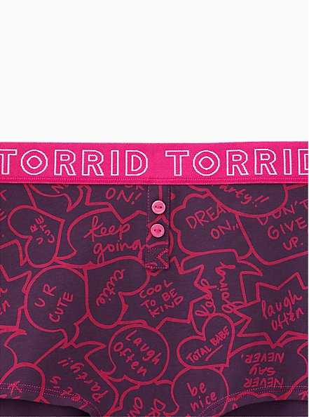 Torrid Logo Speech Bubbles Cotton Boyshort Panty, SPEECH BUBBLES, alternate