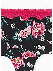 Pink Floral Lace Cotton Boyshort Panty, VIBRANT FLORAL, alternate
