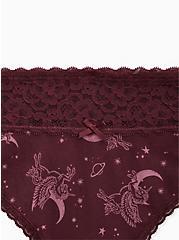 Unicorn Skies Burgundy Wide Lace Cotton Thong Panty, UNICORN SKIES, alternate