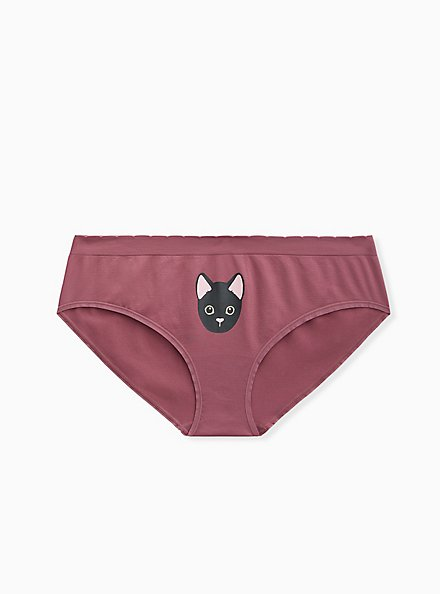 Purple Cute Kitty Seamless Hipster Panty, CUTE KITTY, hi-res
