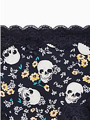Plus Size Skull Floral Black Wide Lace Cotton Cheeky Panty, SKULLY VIBES, alternate
