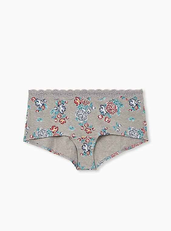 Heather Grey Wide Lace Cotton Boyshort Panty, GINA FLORAL, hi-res