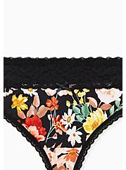 Black Floral Wide Lace Cotton Thong Panty, DENSE FLORAL, alternate