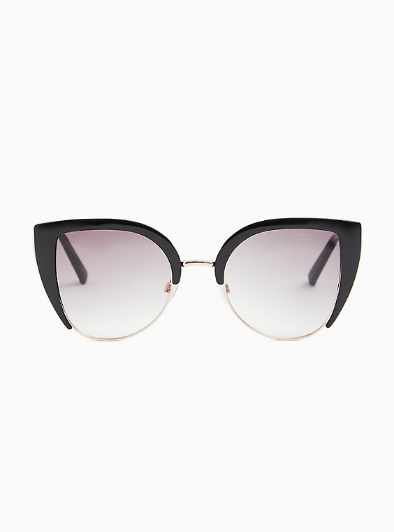 Gold-Tone Metal & Black Cat Eye Sunglasses, , hi-res