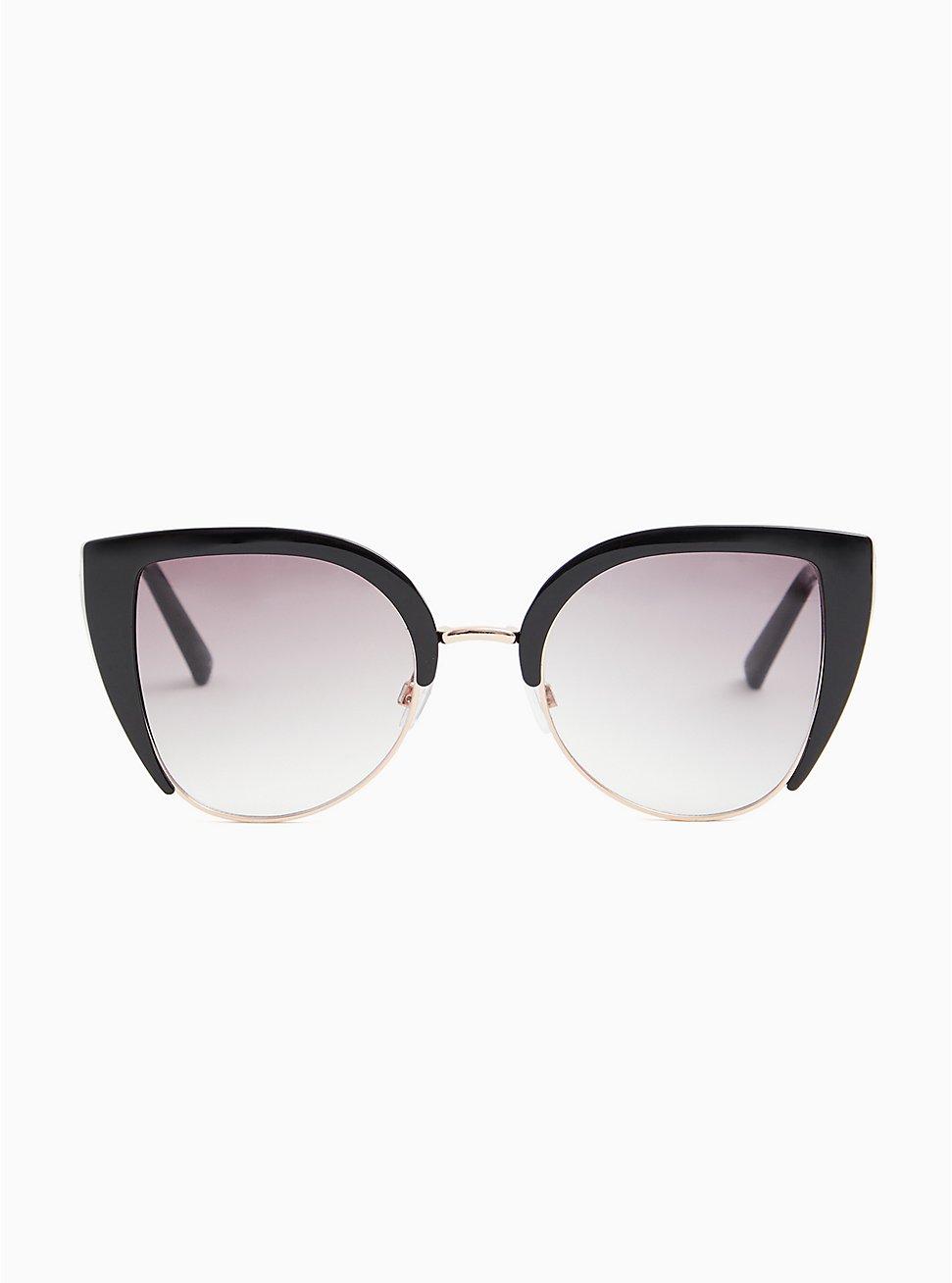 Gold-Tone Metal & Black Cat Eye Sunglasses, , hi-res