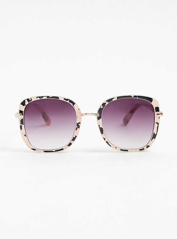 Blush Pink & Black Speckled Square Sunglasses, , hi-res