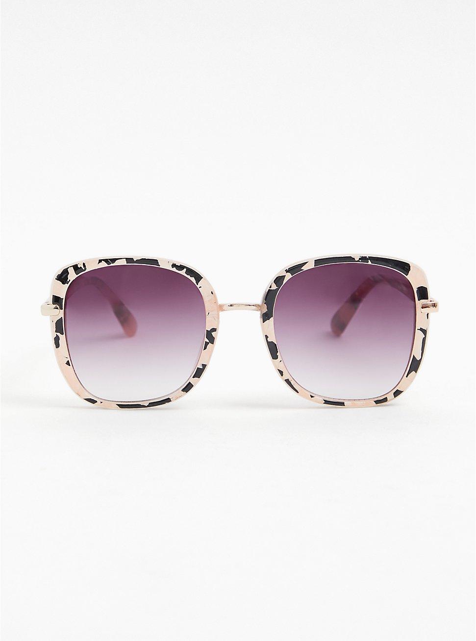Plus Size Blush Pink & Black Speckled Square Sunglasses, , hi-res