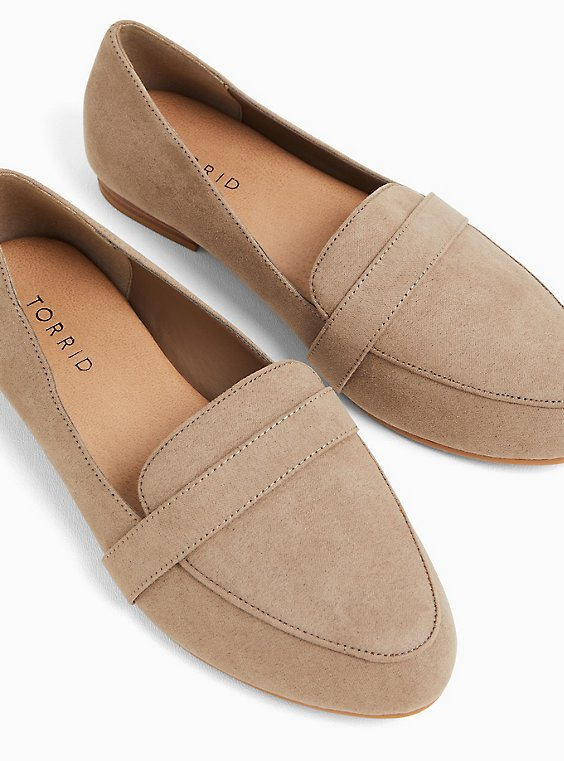 Taupe Faux Suede Loafer (WW), , hi-res