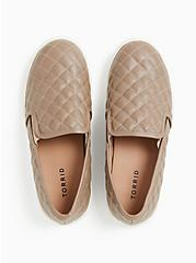 Taupe Quilted Faux Leather Slip-On Sneaker (WW), TAN/BEIGE, alternate