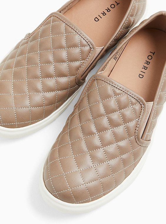 Taupe Quilted Faux Leather Slip-On Sneaker (WW), , hi-res
