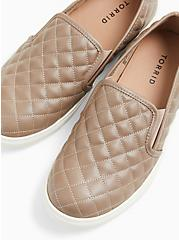 Taupe Quilted Faux Leather Slip-On Sneaker (WW), TAN/BEIGE, hi-res