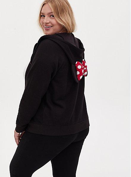 Disney Minnie Mouse Black Fleece Zip Hoodie, DEEP BLACK, alternate